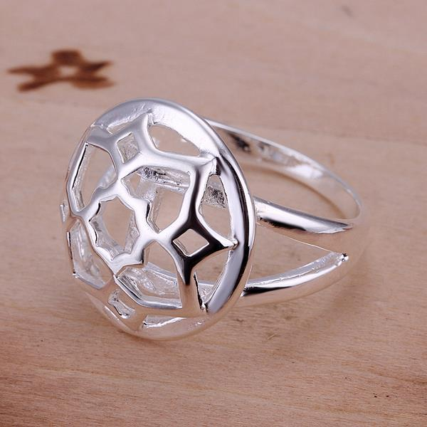 Vienna Jewelry Sterling Silver Laser Cut Emblem Petite Ring Size: 8