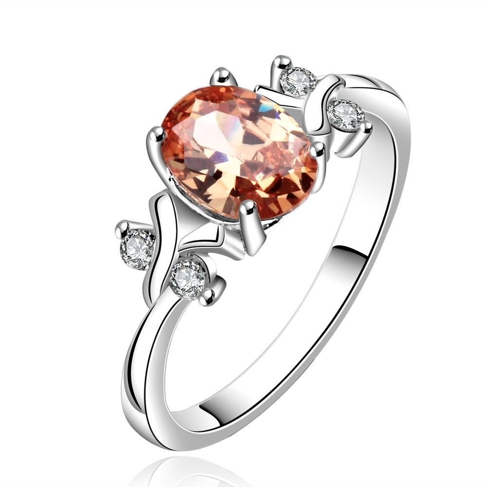 Vienna Jewelry Sterling Silver Petite Orange Citrine Princess Inspired Petite Ring Size: 8