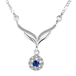 Vienna Jewelry Sterling Silver Curved Mock Sapphie Curved Design Necklace - Thumbnail 0