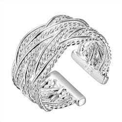 Vienna Jewelry Sterling Silver Open Interlocked Resizable Ring - Thumbnail 0