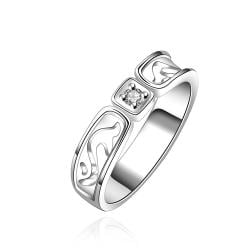Vienna Jewelry Sterling Silver Square Crystal Classic Ring Size: 7 - Thumbnail 0