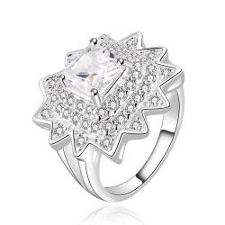 Vienna Jewelry Sterling Silver Crystal Blossoming Floral Ring Size: 7 - Thumbnail 0