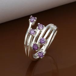 Vienna Jewelry Muli Purple Citrine Swirl Lining Ring Size: 8 - Thumbnail 0