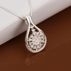 Vienna Jewelry Sterling Silver Snowflake Tear Drop Emblem Necklace - Thumbnail 0