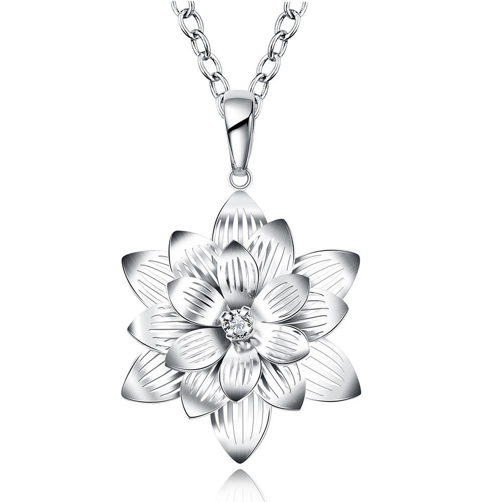 Vienna Jewelry Sterling Silver Blossoming Ivory Floral Petal Drop Necklace