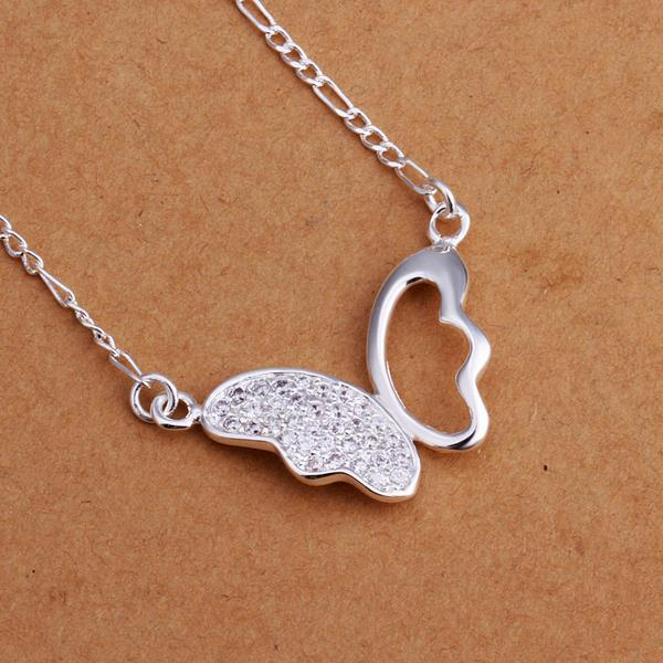 Vienna Jewelry Sterling Silver Crystal Butterfly Drop Necklace