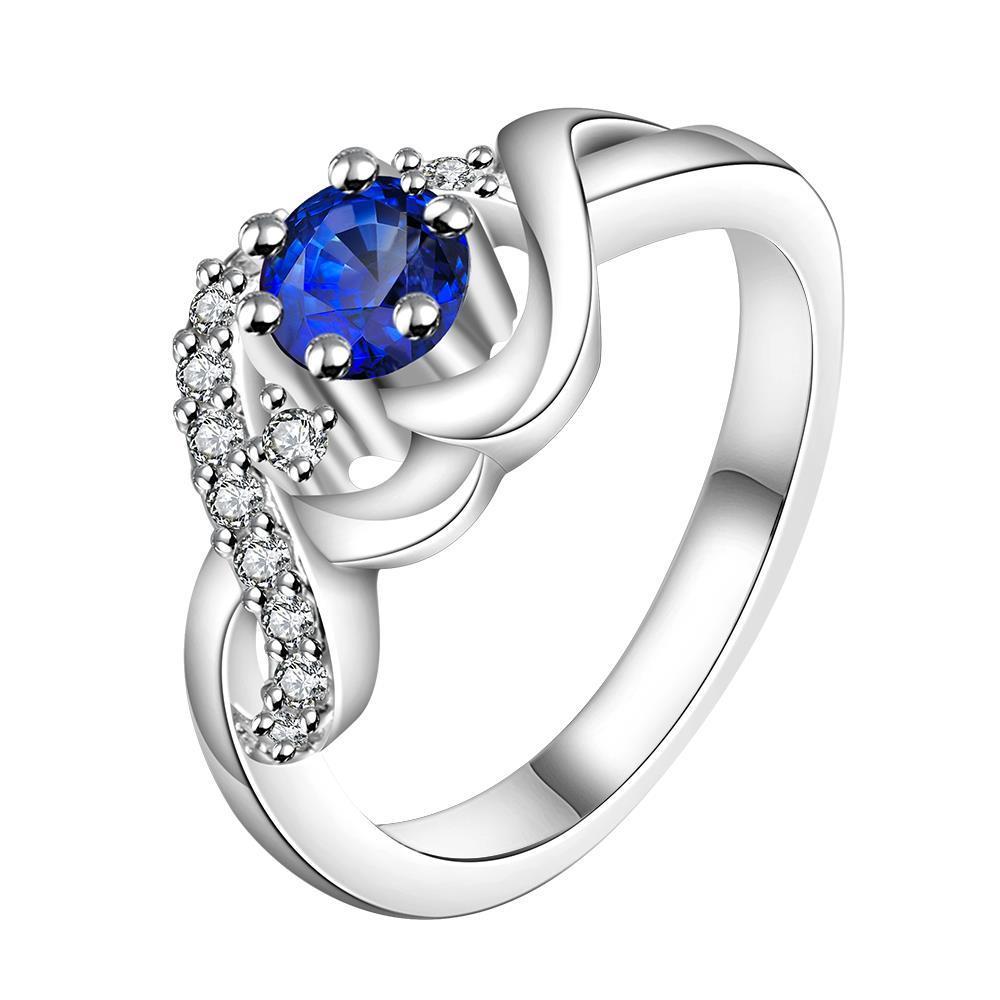 Vienna Jewelry Sterling Silver Petite Sapphire Swirl Design Ring Size: 8