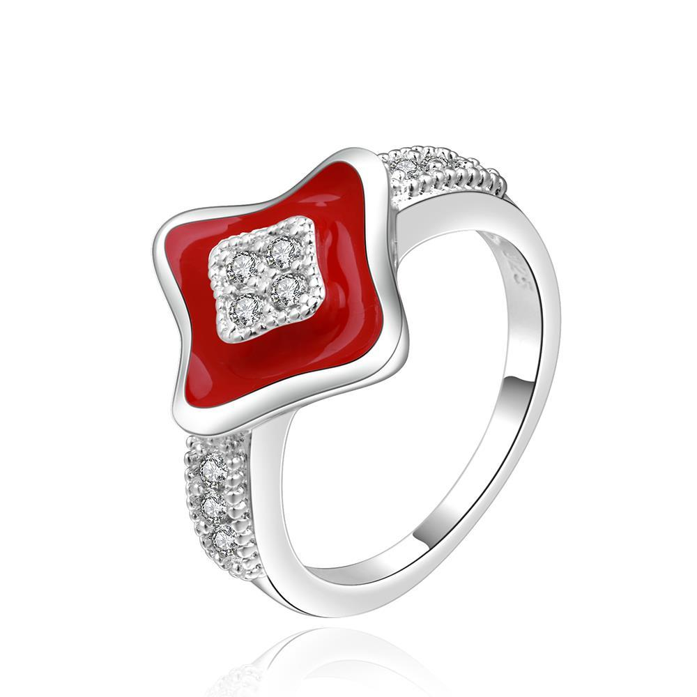 Vienna Jewelry Sterling Silver Diamond Shaped Ruby Plating Ring Size: 8