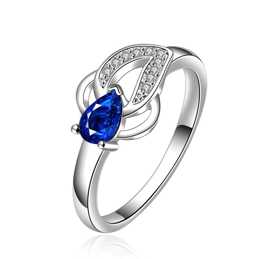 Vienna Jewelry Sterling Silver Petite Sapphire Gem Emblem Ring Size: 8