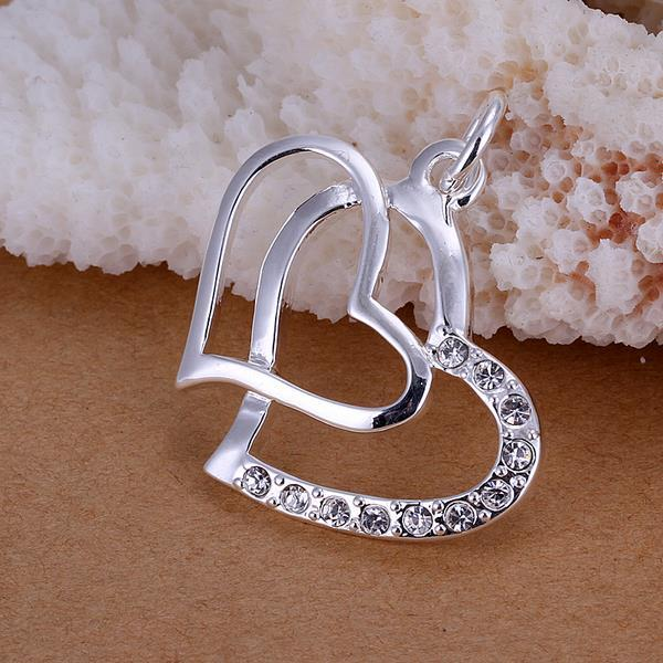 Vienna Jewelry Sterling Silver Duo Hearts Pendant