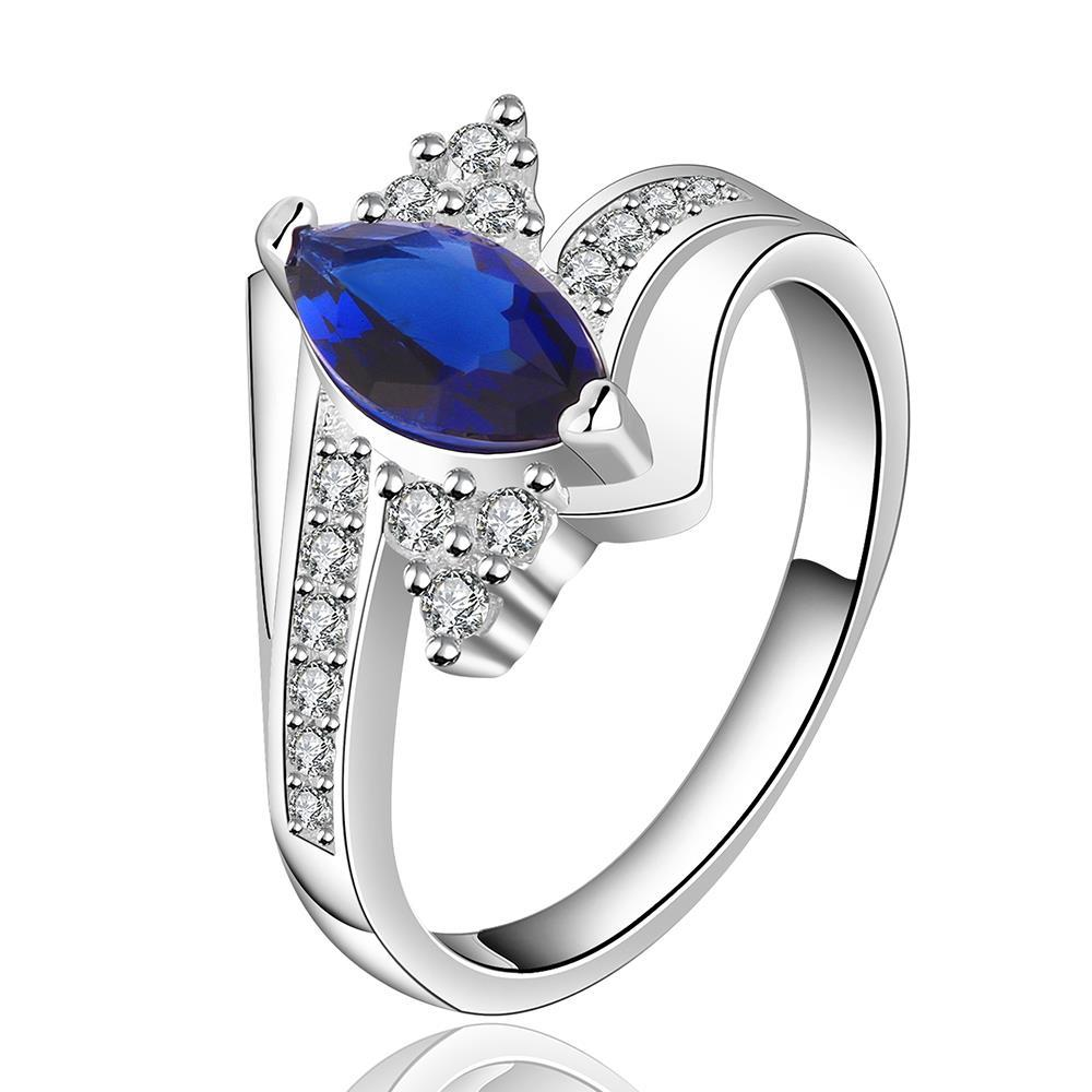 Vienna Jewelry Sterling Silver Center Mock Sapphire Jewels Lining Ring Size: 7