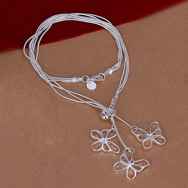 Vienna Jewelry Sterling Silver Trio-Hollow Butterfly Dangling Necklace