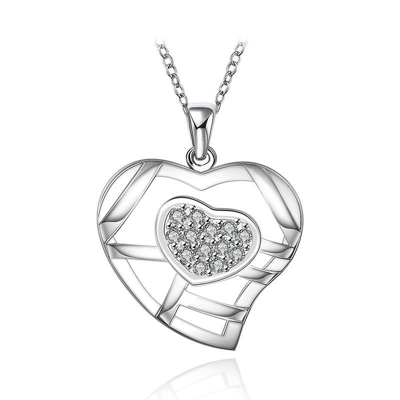 Vienna Jewelry Sterling Silver Laser Cut Heart with Crystal Necklace