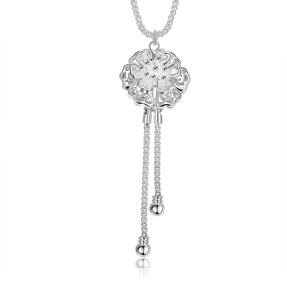 Vienna Jewelry Sterling Silver Dangling Pav'e Crystal Necklace