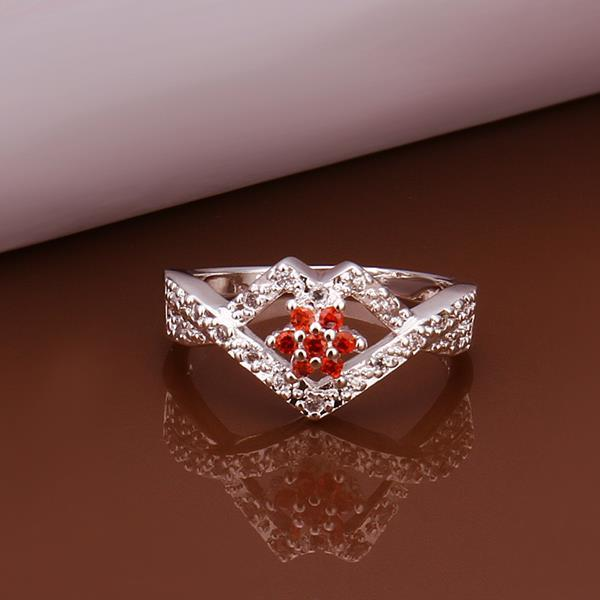 Vienna Jewelry Sterling Silver Multi-Ruby Gem Diamond Shaped Petite Ring Size: 8