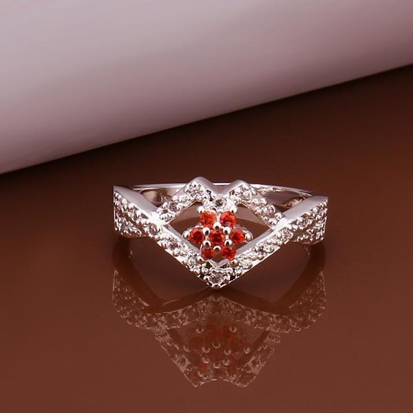 Vienna Jewelry Sterling Silver Multi-Ruby Gem Diamond Shaped Petite Ring Size: 8