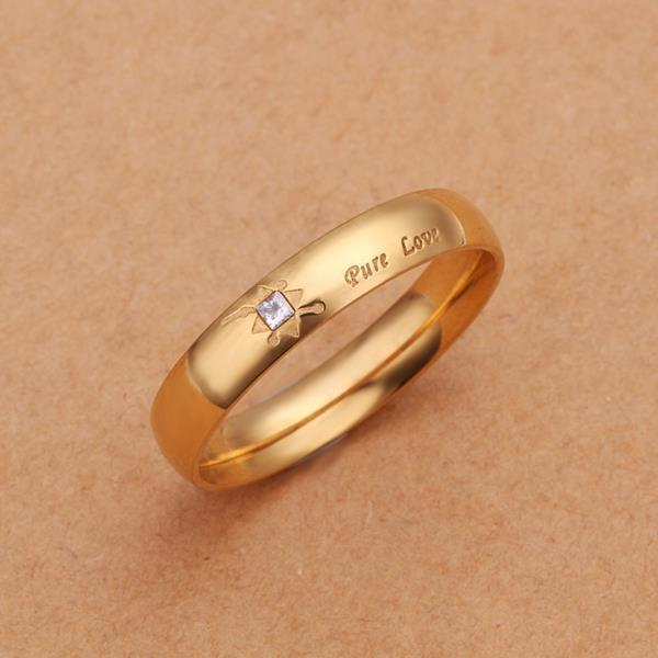 Vienna Jewelry Gold Coloring Pure Love Lining Petite Ring Size: 7 - Thumbnail 0