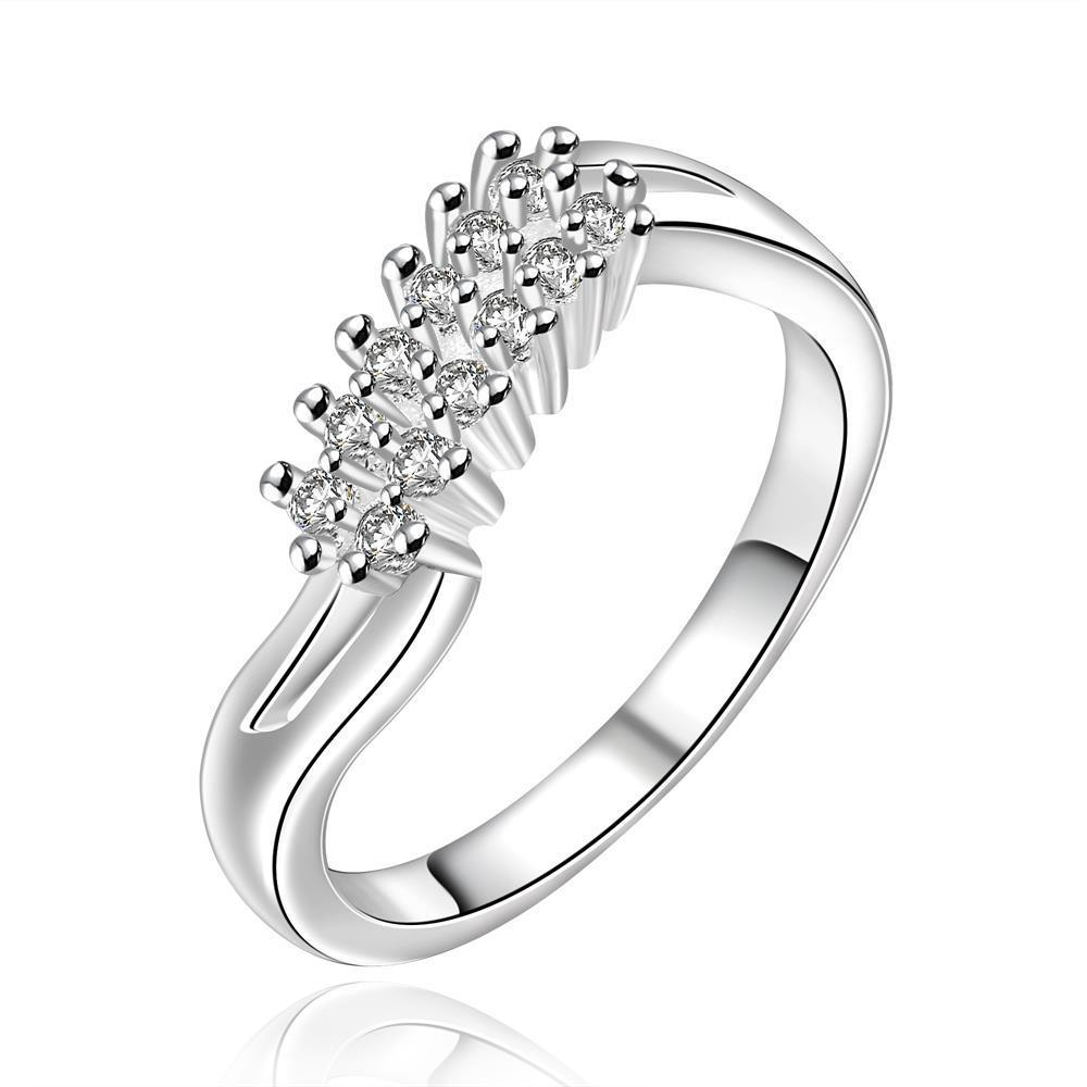 Vienna Jewelry Sterling Silver Crystal Orchid Modern Ring Size: 8