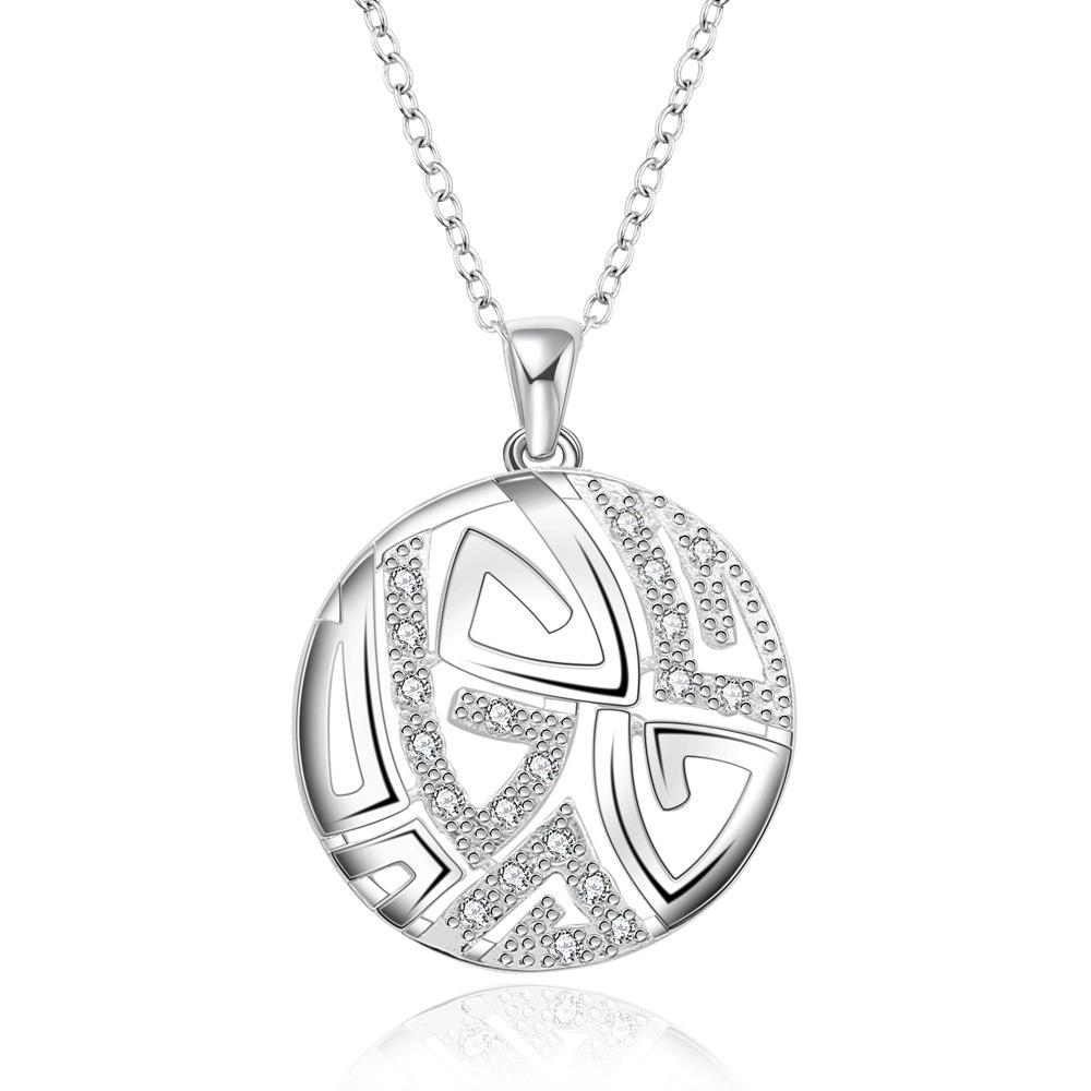 Vienna Jewelry Sterling Silver Laser Cut Ingrain Pendant Necklace