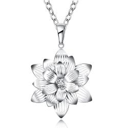 Vienna Jewelry Sterling Silver Blossoming Ivory Floral Petal Drop Necklace - Thumbnail 0