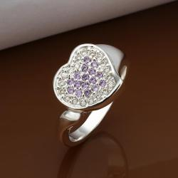Vienna Jewelry Sterling Silver Purple Citrine & Jewels Covering Heart Ring Size: 8 - Thumbnail 0