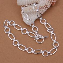 Vienna Jewelry Sterling Silver Mid Size Sleek Interlocked Chain Necklace - Thumbnail 0