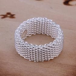 Vienna Jewelry Sterling Silver Mesh Ring Size: 8 - Thumbnail 0