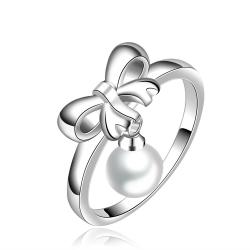 Vienna Jewelry Sterling Silver Dangling Pearl Drop Petite Ring Size: 7 - Thumbnail 0
