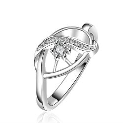 Vienna Jewelry Sterling Silver Curved Crystal Abstract Modern Ring Size: 7 - Thumbnail 0