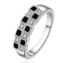 Vienna Jewelry Sterling Silver Onyx & Crystal Layering Petite Ring Size: 7 - Thumbnail 0