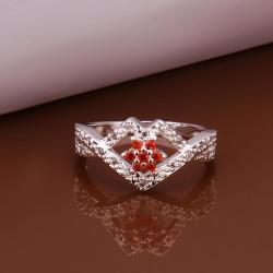 Vienna Jewelry Sterling Silver Multi-Ruby Gem Diamond Shaped Petite Ring Size: 8 - Thumbnail 0