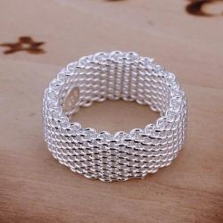 Vienna Jewelry Sterling Silver Mesh Ring Size: 6 - Thumbnail 0