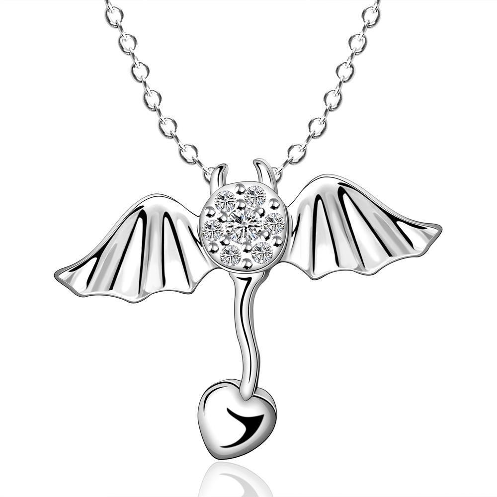 Vienna Jewelry Sterling Silver Butterfly Wings Dangling Love Necklace