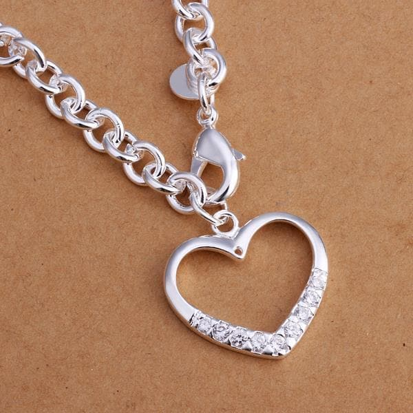 Vienna Jewelry Sterling Silver Hollow Heart Jewels Covering Drop Necklace
