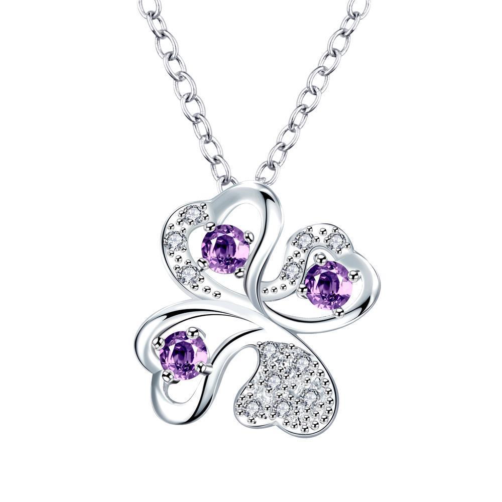 Vienna Jewelry Mock Purple Citrine Clover Pendant Drop Necklace