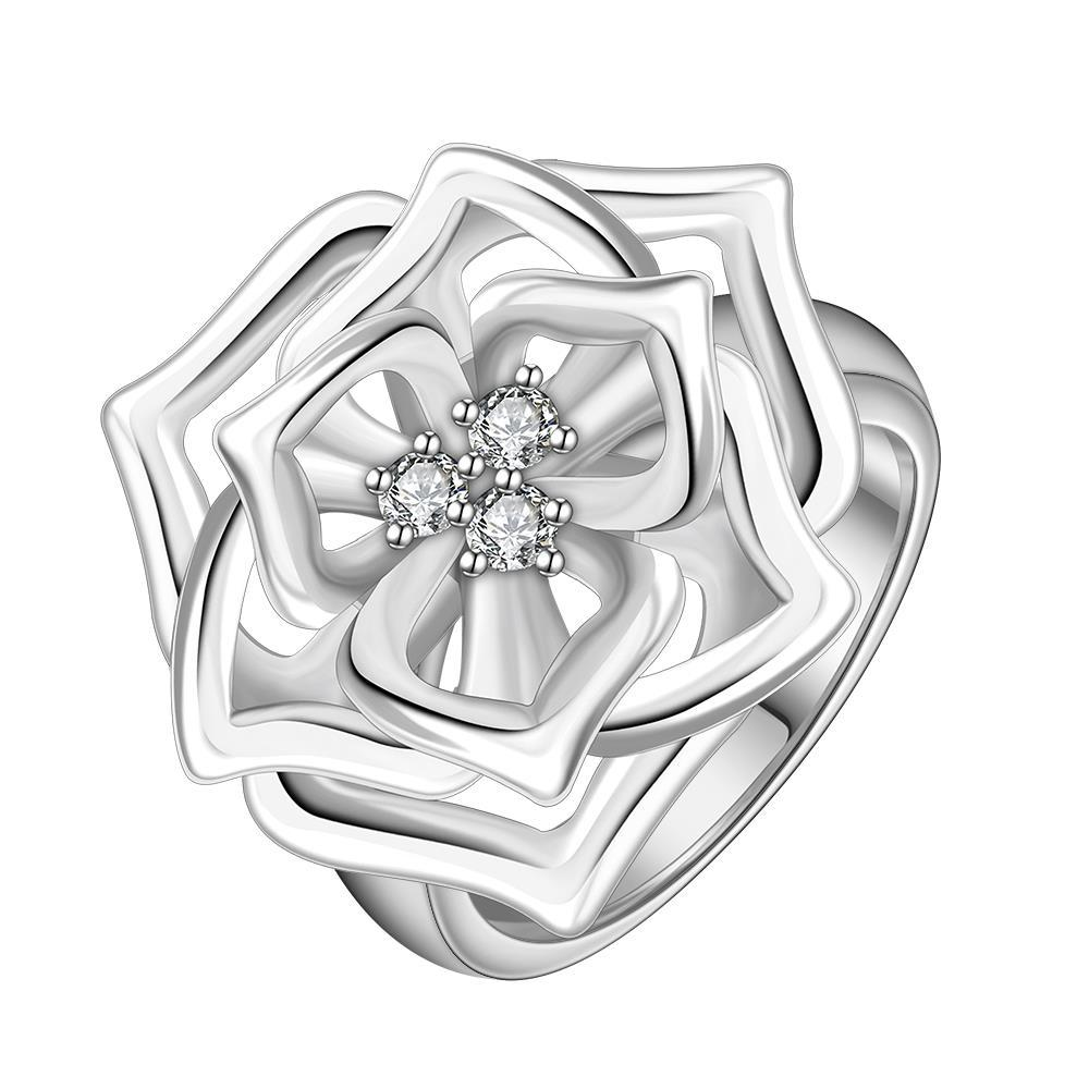 Vienna Jewelry Sterling Silver Trio-Floral Petals Blossoming Ring Size: 8