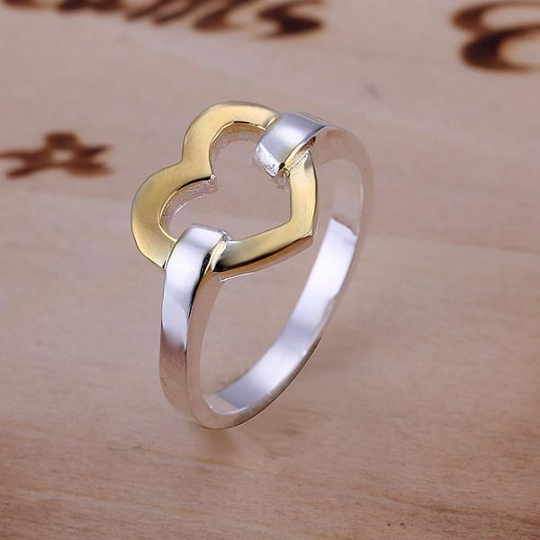 Vienna Jewelry Golden Hollow Heart Shaped Sterling Silver Ring Size: 10