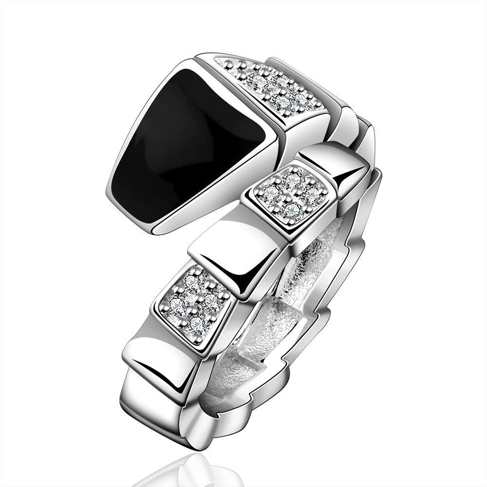 Vienna Jewelry Sterling Silver Onyx Layering Plating Swirl Ring Size: 8