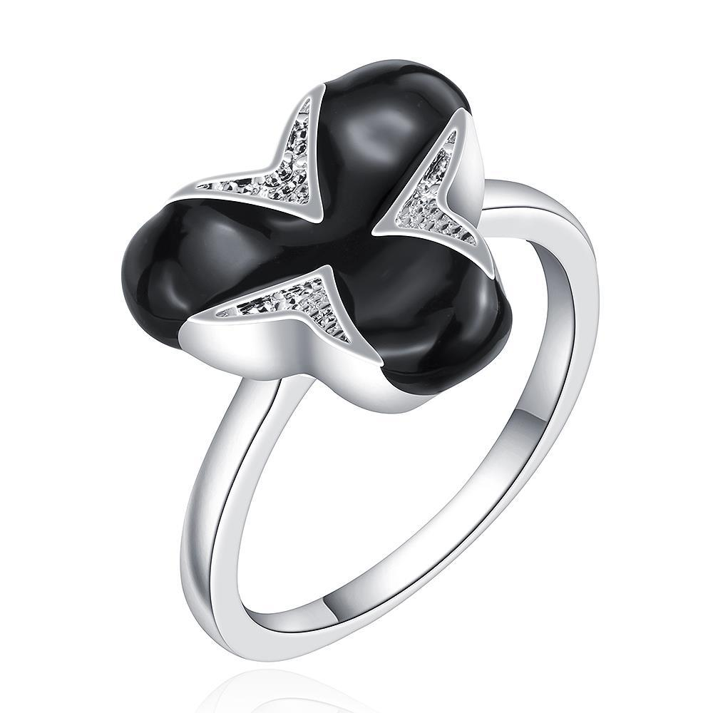 Vienna Jewelry Sterling Silver Onyx Covering Clover Shape Ring Size: 8