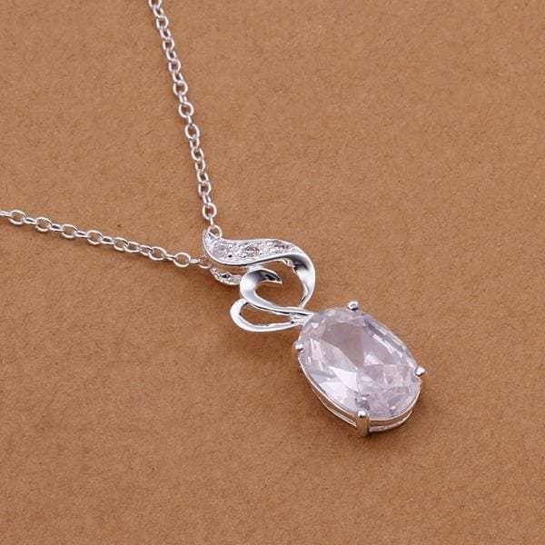 Vienna Jewelry Sterling Silver Curved Crystal Emblem Drop Necklace