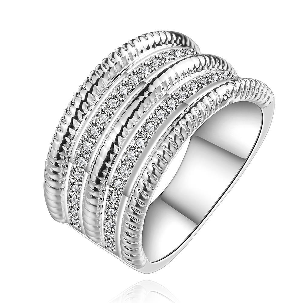 Vienna Jewelry Sterling Silver Swirl Jewels Lining Classic Ring Size: 8