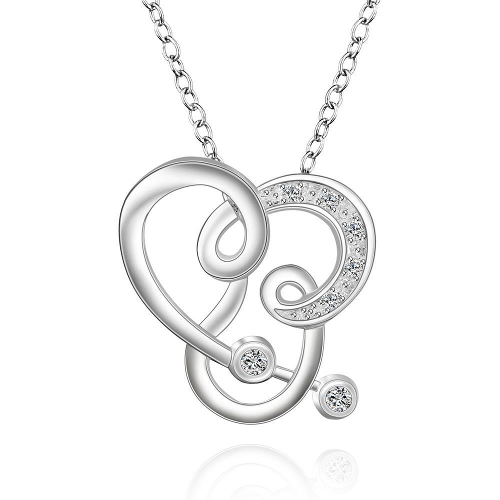 Vienna Jewelry Sterling Silver Curved Abstract Heart Design Drop Necklace
