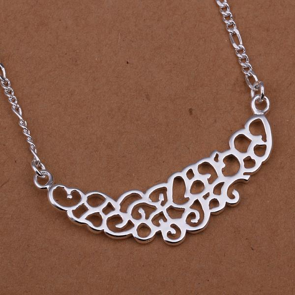 Vienna Jewelry Sterling Silver Laser Cut Curved Large Emblem Necklace