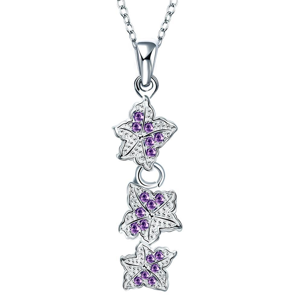 Vienna Jewelry Trio-Purple Citrine Floral Dangling Drop Necklace