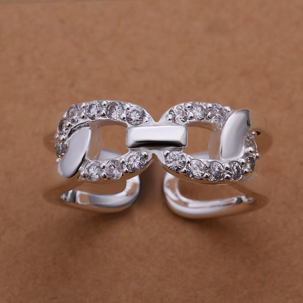 Vienna Jewelry Sterling Silver CZ Inline Swirl Ring Size: 8