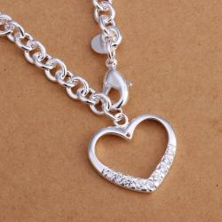 Vienna Jewelry Sterling Silver Hollow Heart Jewels Covering Drop Necklace - Thumbnail 0