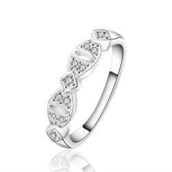 Vienna Jewelry Sterling Silver Crystal Jewels Inlay Interlocking Ring Size: 8 - Thumbnail 0