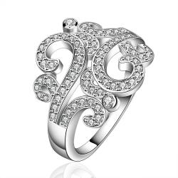 Vienna Jewelry Sterling Silver Swirl Design Emblem Ring Size: 8 - Thumbnail 0