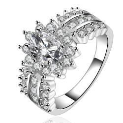 Vienna Jewelry Sterling Silver Multi Crystal Jewels Blossoming Ring Size: 8 - Thumbnail 0