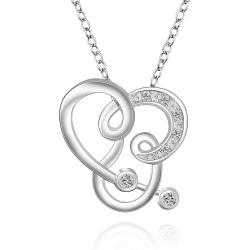 Vienna Jewelry Sterling Silver Curved Abstract Heart Design Drop Necklace - Thumbnail 0